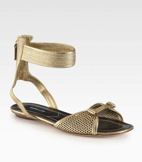 derek lam sandals derek lam hurley metallic leather ankle sandals in