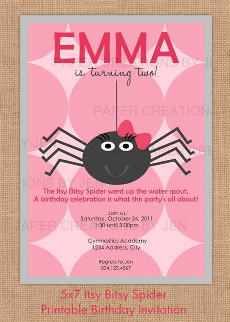 Itsy Bitsy Spider Birthday Ideas Itsy Bitsy Spider Birthday Printable Invitation