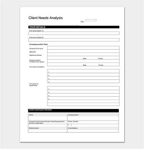 client analysis template needs analysis template 20 for word excel pdf
