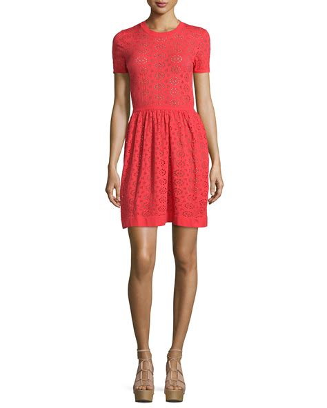 Sleeve Perforated Dress see by chlo 233 sleeved perforated dress in lyst