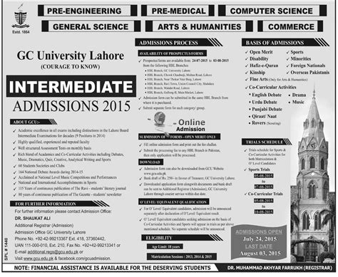 Gcu Mba Admission 2015 by Government College Gcu Lahore Admissions 2016
