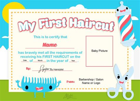 first haircut certificate baby haircut certificate 8x10