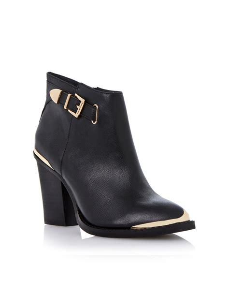 steve madden partnir leather almond toe block heel ankle