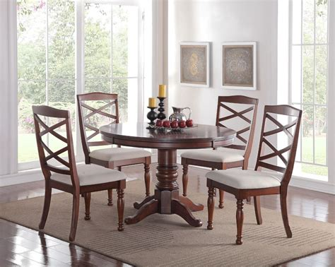 Dining Room Set Cherry Wood 5pc Pedestal Cherry Finish Wood Kitchen Dining