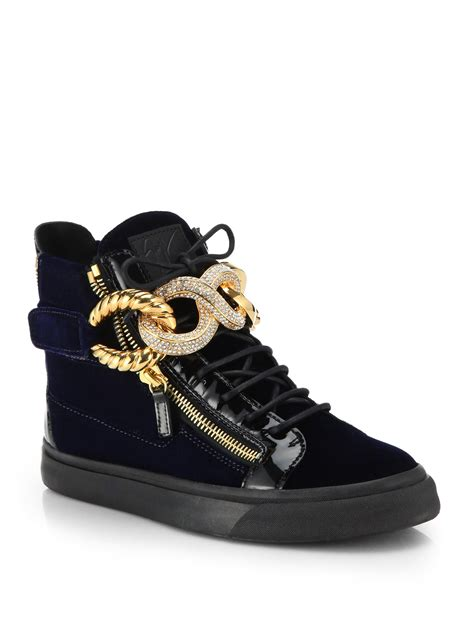 mens giuseppe sneakers giuseppe zanotti patent and velvet high top sneakers in