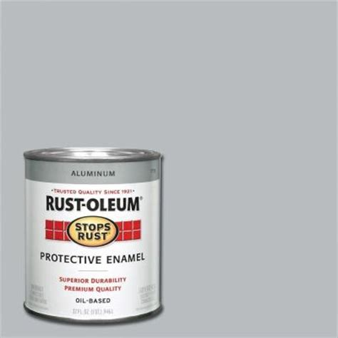 rust oleum stops rust 1 qt metallic aluminum enamel paint 7715502 the home depot