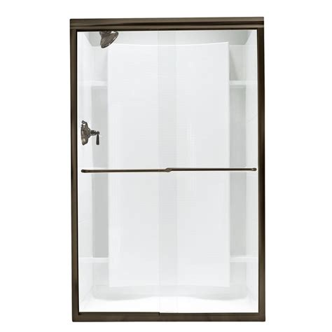 Finesse Frameless Bypass Shower Door In Deep Bronze With Bypass Shower Doors Frameless