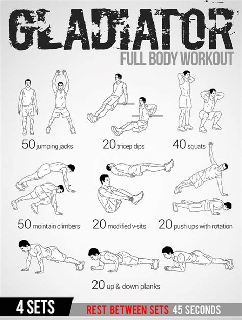 home workout plans for men gladiator full body workout plan healthy fitness tips