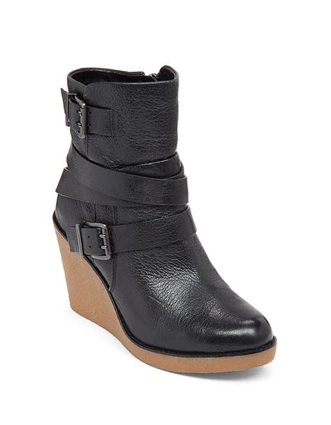 wedge boots bcbgeneration finland leather wedge boots in black lyst