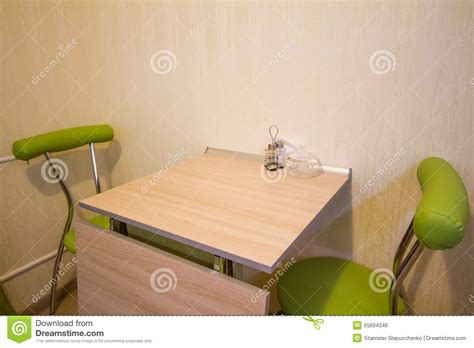 Small Green Armchair Small Kitchen Table With Two Green Chairs Stock Photo