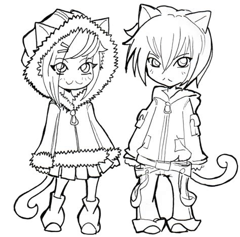 Neko By Namtia On Deviantart Anime Neko Coloring Pages Printable