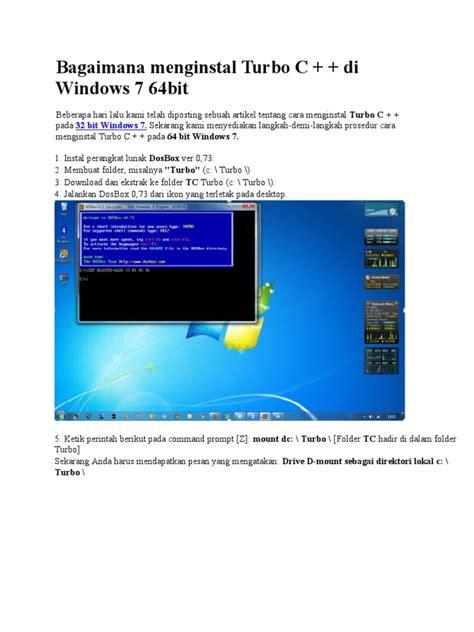 cara instal windows 7 ultimate 64 bit di laptop pc cara menginstal turbo c di windows 7 64bit