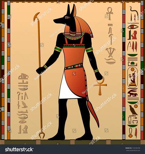 Egyptian Wall Murals ancient egypt egyptian murals anubis jackalheaded stock