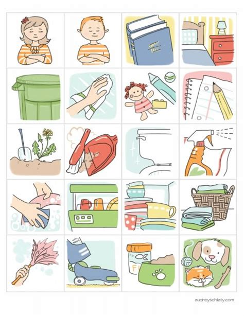 printable chore images cute little illustrated chore charts kid related