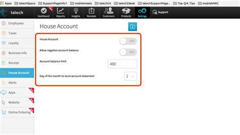 house account house account talech ipad pos system