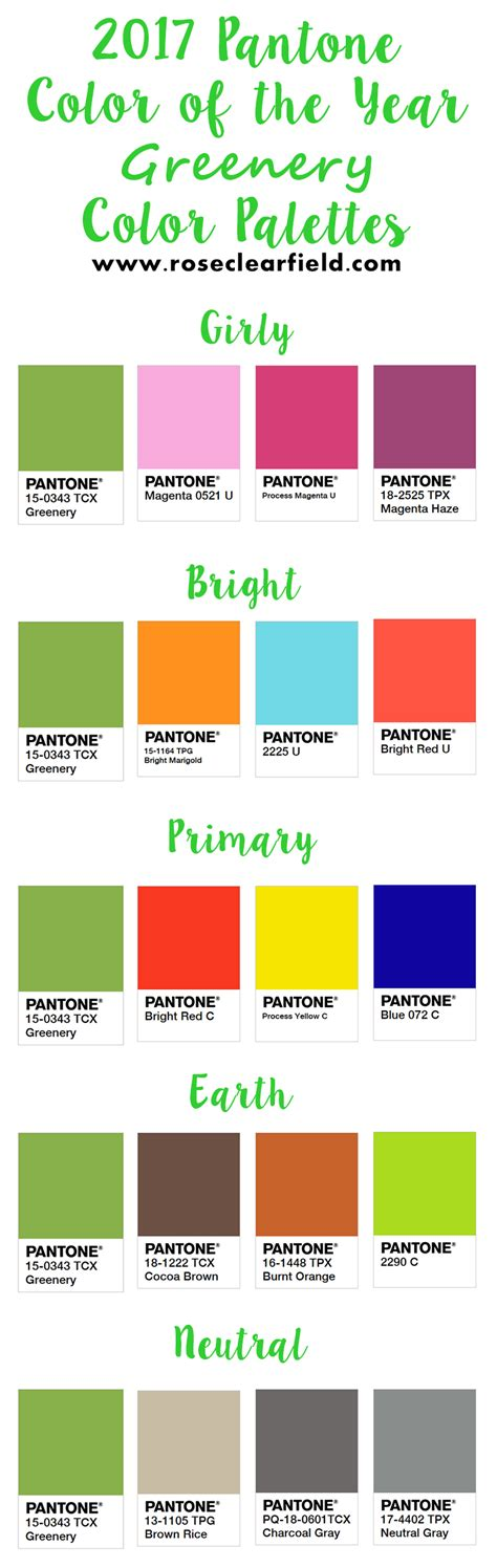 pantone color chart 2017 2017 pantone color of the year greenery inspiration rose