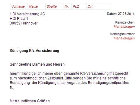 Kfz Versicherung K Ndigen Hdi by Hdi Direkt Kfz Versicherung K 252 Ndigen Vorlage Download
