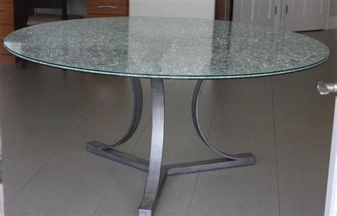 crackle glass dining table  tripod metal base