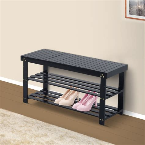 wooden shoe rack bench wooden shoe bench storage seat entryway furniture black
