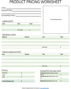 List Of Handmade Products - free product pricing worksheet tolmema