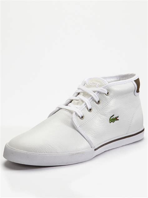 mens white boots leather lacoste thill leather mens boots in white for lyst