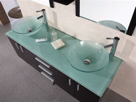 Glass Sinks And Countertops by 61 Quot Portland Vessel Sink Vanity Glass Top