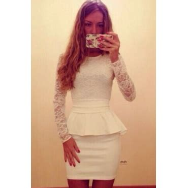 2351peplum Mini Dress High Quality With Necklace sleeve lace peplum dress on luulla