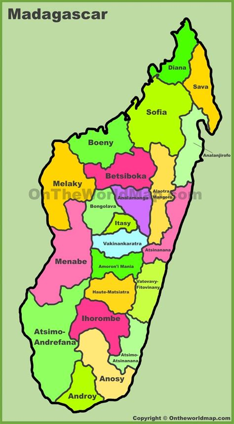 map of madagascar administrative divisions map of madagascar