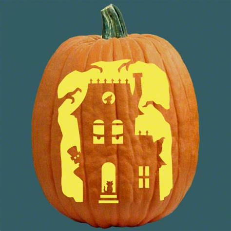 pumpkin pattern haunted house 15 fabulous pumpkin carving ideas for halloween chef in you