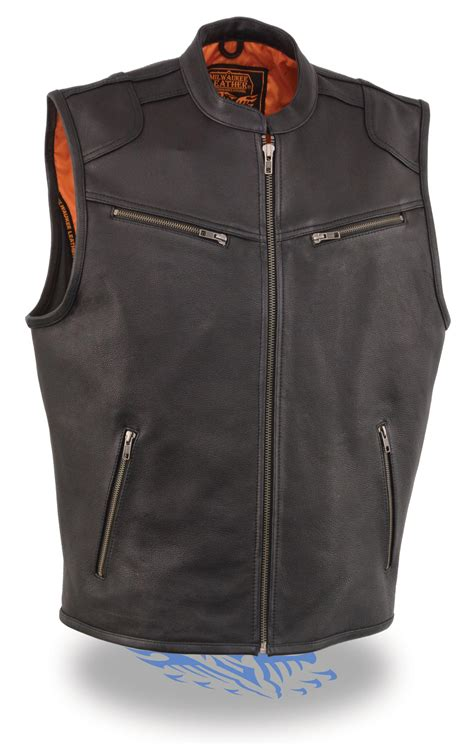 biker vest mens zipper front leather biker vest w cool tec