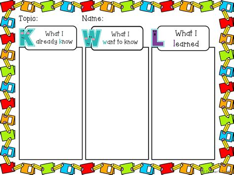 printable kwl chart september 2013 teacher s toolkit