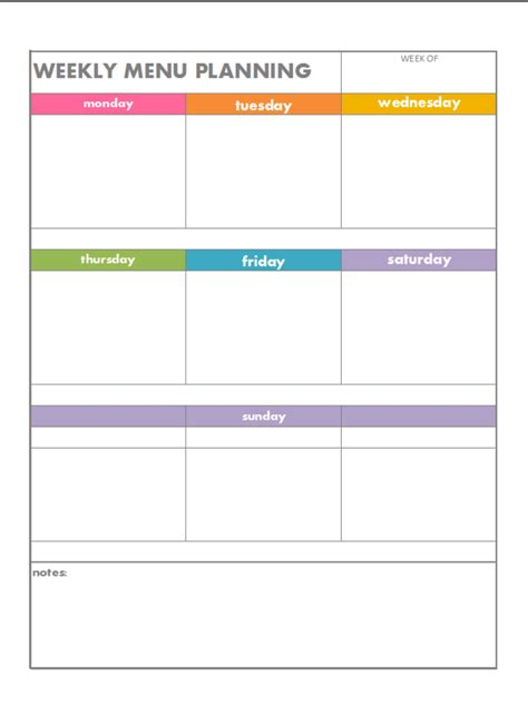 printable menu planning templates 7 best images of blank printable weekly menu planner
