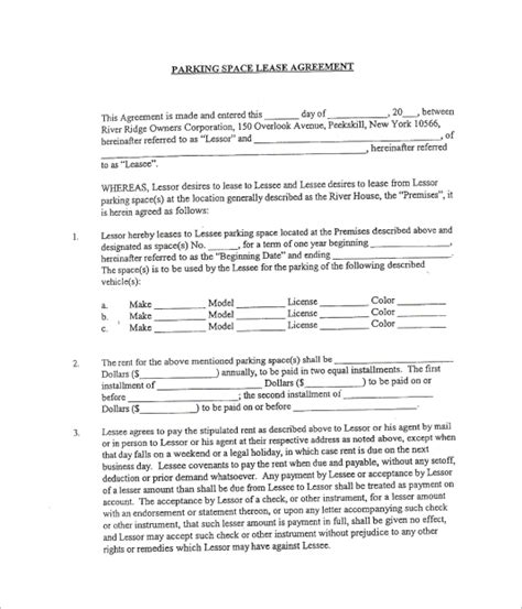 10 Parking Lease Templates Sle Templates Space Lease Agreement Template