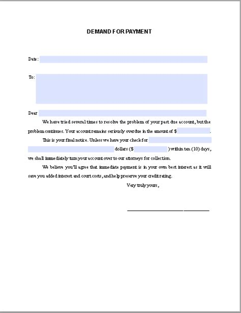 letter of demand template demand notice for payment free