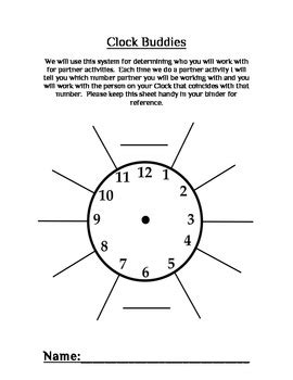 printable clock partners clock buddies matching students for partner work by
