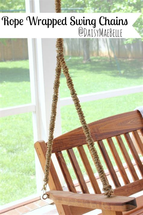how to hang a porch swing with chain rope wrapped chain for a porch swing daisymaebelle