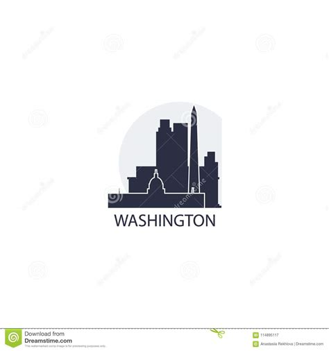 washington city skyline silhouette vector logo