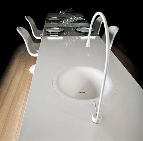 Gessi Kitchen Faucet Gessi Goccia Concept Puts A Kitchen Faucet In Your Dining Table
