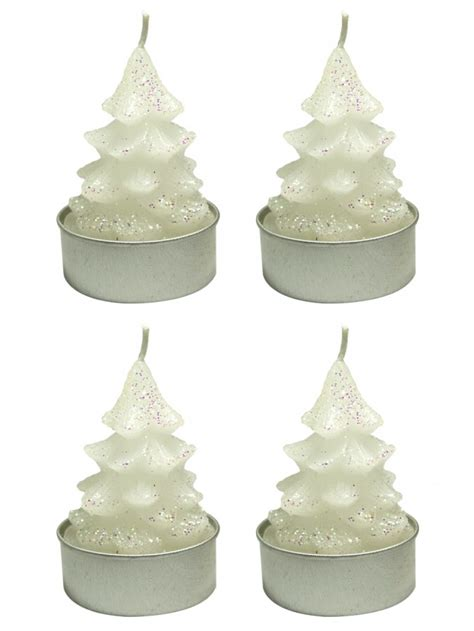 white christmas tree tea light candles pack 6 x 55mm