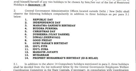 Calendar 2018 Dopt List Of Holidays For Central Government Offices For Year