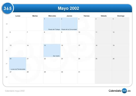 Calendario Mayo 2003 Pin Calendario 2002 On
