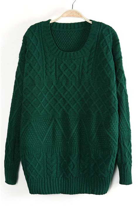 green knit sweater green sleeve cable knit pullover sweater shein