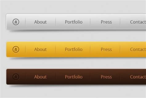 horizontal menu design in three colors psd file free