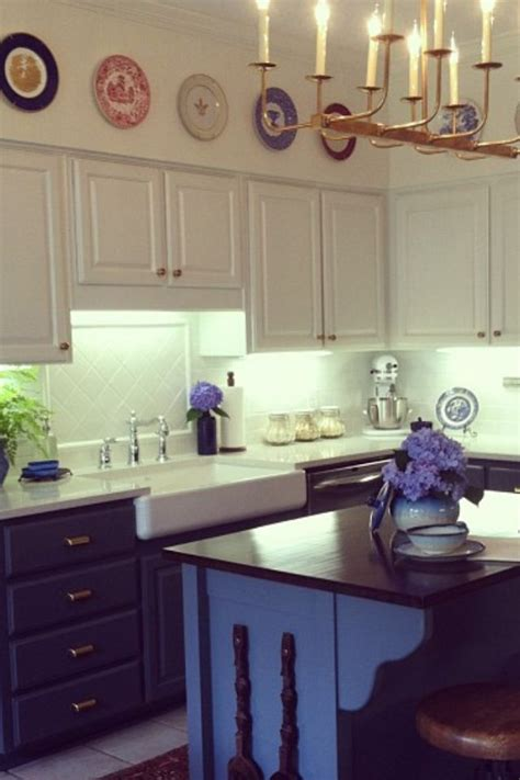 blue galley kitchen cottage kitchen arent pyke navy blue kitchen cabinets quicua com