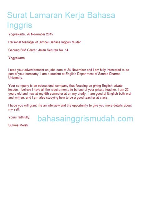 contoh application letter waiter