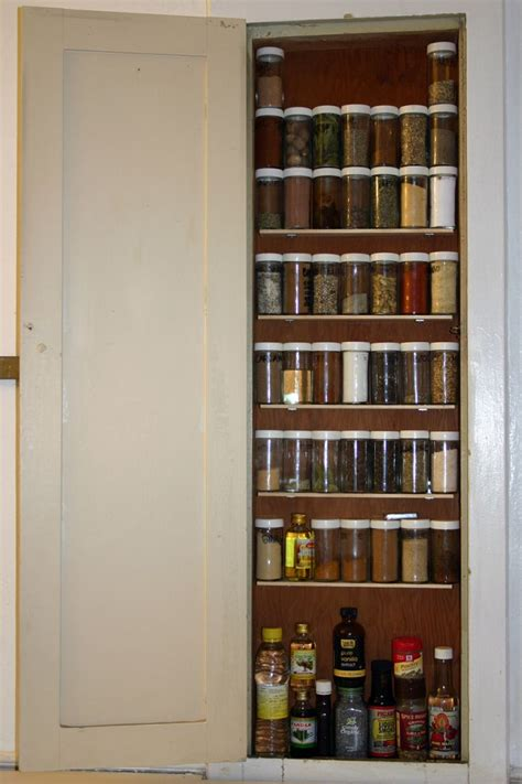 spice cabinet built in between the studs built in