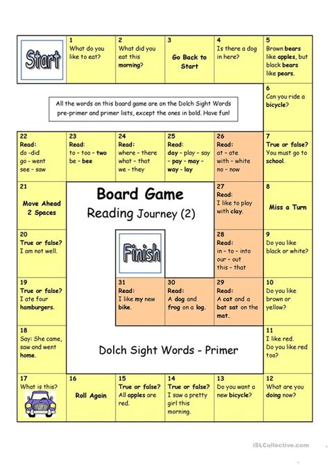 printable board games for reading sight words worksheets for esl students dolch sight word