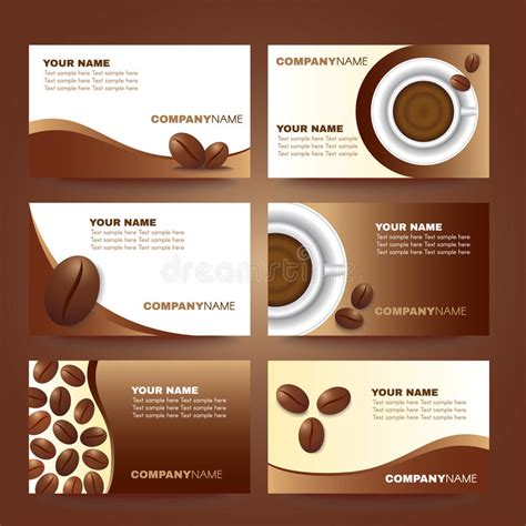 Cafe Business Card Template Free by Coffee Business Card Template Vector Set Design Stock