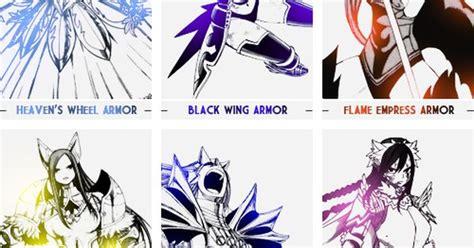 Erza Scarlet Armor List | Erza Scarlet and her many ... Erza Scarlet Armor Types