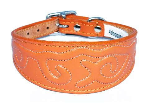 orange collar orange embossed stitch design leather wholesale whippet greyhound collar